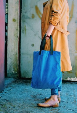 Bag Mr. m velvet blue/ears natural leather